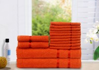 Story@home Cotton Bath, Hand & Face Towel Set 2 Bath Towel, 2 Hand Towel, 10 Face Towel, Orange