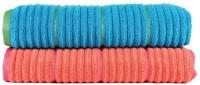 Casa Copenhagen Solid Ribbed Zero Twist Fusion Coral & Hwain Ocean Bath Towel Set (2 Bath Towel, Orange, Blue)