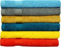 Rakshan Cotton Bath Towel Set (Pack Of Towel 6, Turquoise, Grey, Dark Yellow, Blue, Yellow, Orange)