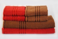 Trident Cotton Bath & Hand Towel Set 2 Bath, 4 Hand Towel, Dark Red, Brown