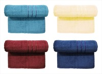 BOMBAY DYEING Cotton Set Of Towels (4 LARGE SIZE TOWEL SET, DARK GREY, YELLOW, Marron, DARK BLUE)