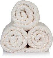 CLOTH FUSION Cotton Bath Towel Set Of 3 White Bath Towel, White
