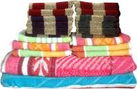 Fzyme Cotton Bath, Hand & Face Towel Set 12 Face Towels, 6 Hand Towels, 2 Bath Towels, Multicolor