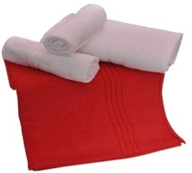 Trident Everyday Cotton Bath Towel Set (2 Bath Towel, 2 Hand Towels, Red, White)
