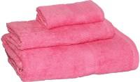 Welhome Cotton Set Of Towels, Bath Towel, Hand Towel, Face Towel Bath Towel, Hand Towel, Face Towel, Pink