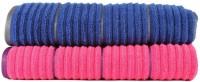 Casa Copenhagen Solid Ribbed Zero Twist Honey Suckle & Deep Sapphire Bath Towel Set (2 Bath Towel, Pink, Blue)