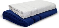 Story @ Home Cotton Bath Towel 2 Pc Bath Towel, White, Dark Blue