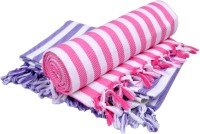 Sathya Cotton Bath Towel 2 Bath Towel, White, Blue, Pink