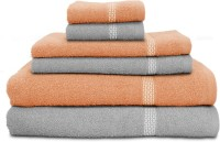 Swiss Republic Cotton Bath, Hand & Face Towel Set (2 Bath Towels, 2 Hand Towels, 2 Face Towels, Light Grey, Light Pink)