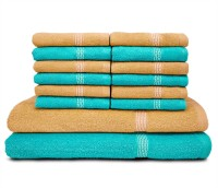 Swiss Republic Cotton Bath & Face Towel Set (2 Bath Towels, 12 Face Towels, Light Blue, Light Brown)