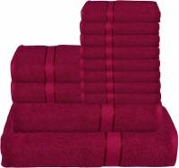 RR Textile House Cotton Bath, Hand & Face Towel Set 8 Face Towel, 2 Hand Towel, 1 Ladies Towel, 1 Bath Towel, Maroon