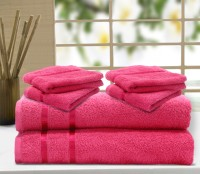 Story@home Cotton Bath & Hand Towel Set 2 Pc Bath Towel, 4 Pc Hand Towel, Pink