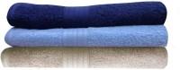 India Furnish Cotton Bath Towel Set 3 Bath Towels, Sky Blue, Navy Blue, Biscuit