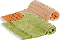 Goodway Stripes Cotton Bath Towel (Pack Of 2 Bath Towel, Green, Orange)