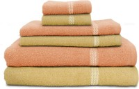 Swiss Republic Cotton Bath, Hand & Face Towel Set (2 Bath Towels, 2 Hand Towels, 2 Face Towels, Light Brown, Light Pink)