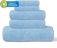 Khushal Cotton Bath, Hand & Face Towel Set 1 Towel, 2 Face Towel, 2 Hand Towel, Blue