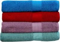 Rakshan Cotton Bath Towel Set (Pack Of Towel 4, Blue, Red, Purple, Turquoise)