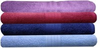 India Furnish Cotton Hand Towel Set 4 Bath Towels, Purple, Maroon, Sky Blue, Navy Blue