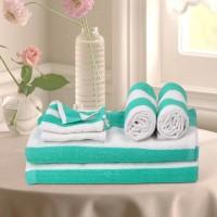 Cortina Cotton Bath, Hand & Face Towel Set 2PC Hand Towel Set, 2PC Bath Towel Set, 2PC Face Towel Set, Light Green