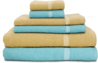 Swiss Republic Cotton Bath, Hand & Face Towel Set 2 Bath Towels, 2 Hand Towels, 2 Face Towels, Light Blue, Light Brown