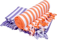 Sathya Cotton Bath Towel 2 Bath Towel, White, Orange, Blue