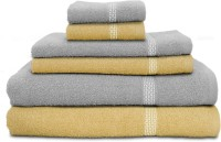 Swiss Republic Cotton Bath, Hand & Face Towel Set 2 Bath Towels, 2 Hand Towels, 2 Face Towels, Light Brown, Light Grey