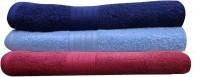 India Furnish Cotton Bath Towel Set 3 Bath Towels, Sky Blue, Navy Blue, Maroon