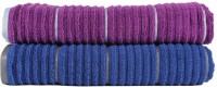 Casa Copenhagen Solid Ribbed Zero Twist Sparkling Grape & Deep Sapphire Bath Towel Set (2 Bath Towel, Purple, Blue)
