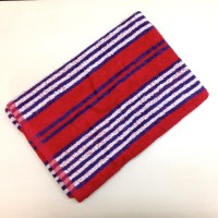 BombayDyeing Crystal Stripe 100% Cotton Bath Towel (Bath Towel, Red, White, Blue)