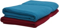 Skumars Love Touch Premia Cotton Bath Towel (2 Bath Towel, Blue, Red)