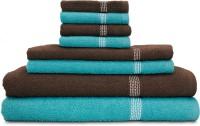 Swiss Republic Cotton Bath, Hand & Face Towel Set 2 Bath Towels, 2 Hand Towels, 4 Face Towels, Light Blue, Dark Brown