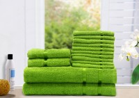 Story@home Cotton Bath, Hand & Face Towel Set 2 Bath Towel, 2 Hand Towel, 10 Face Towel, Green