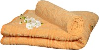 Handloomhub Collection Of Floral Design Cotton Bath Towel (2 Bath Towels, Yellow)