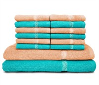 Swiss Republic Cotton Bath & Face Towel Set (2 Bath Towels, 12 Face Towels, Light Blue, Light Pink)