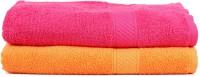 Trident Cotton Set Of Towels 2 Women Bath Towel, Orange, Pink