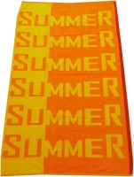 Elegance Woven Terry Cotton Bath Towel Beach Towel, Orange, Yellow