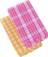 Suam Cotton Bath Towel Pack Of 2 Bath Towel, Yellow, Pink
