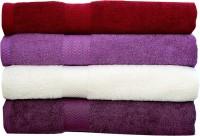Rakshan Cotton Bath Towel Set (Pack Of Towel 4, Red, Purple, White, Dark Purple)