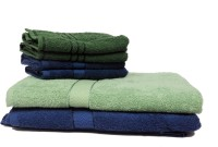 The Home Story Cotton Bath & Hand Towel Set 2 Bath Towels 30x60 Inches, 4 Hand Towels 16x24 Inches., Green, Light Green, Dark Blue