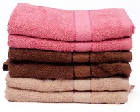 The Home Story Pink, Brown Set Of 6 Napkins