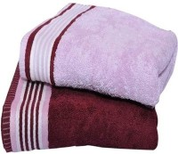 Bigshoponline Cotton Bath Towel Set 2 Bath Towels, Maroon, Pink, Maroon, Pink
