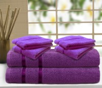 Story@home Cotton Bath & Hand Towel Set 2 Pc Bath Towel, 4 Pc Hand Towel, Purple
