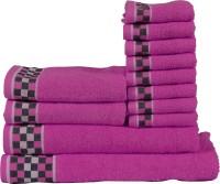 RR Textile House Cotton Bath, Hand & Face Towel Set 12, Purple