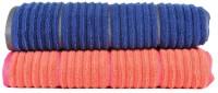 Casa Copenhagen Solid Ribbed Zero Twist Fusion Coral & Deep Sapphire Bath Towel Set (2 Bath Towel, Orange, Blue)