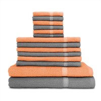 Swiss Republic Cotton Bath, Hand & Face Towel Set (2 Bath Towels, 6 Hand Towels, 6 Face Towels, Light Grey, Light Pink)