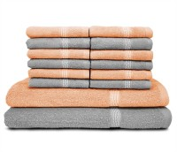 Swiss Republic Cotton Bath & Face Towel Set (2 Bath Towels, 12 Face Towels, Light Grey, Light Pink)