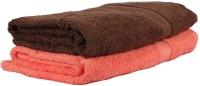 Trident Home Essentials Cotton Bath Towel Set (2 Bath Towels, Orange, Brown)