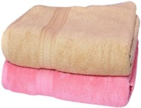 Bigshoponline Cotton Bath Towel Set 2 Bath Towels, Beige, Pink, Beige, Pink