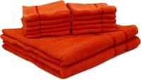 Story@Home Cotton Bath & Face Towel Set 2 Bath Towel And 10 Face Towel, Orange