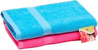 Skumars Love Touch Cotton Bath Towel Set 2 Bath Towels, Blue, Dark Pink